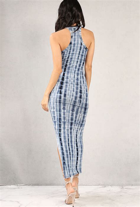 Slit Side Bodycon Dress tie dye side slit maxi bodycon dress shop dresses at