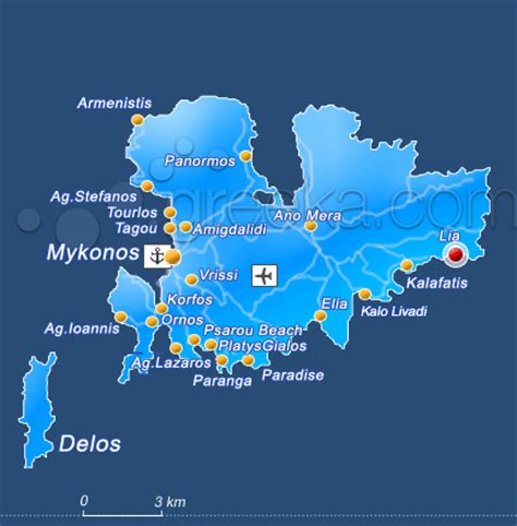 mykonos map mykonos lia mykonos beaches greeka