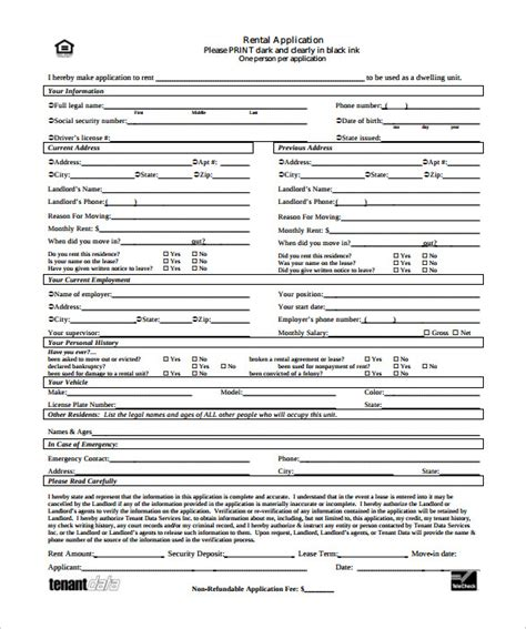 rental form template rental application 18 free word pdf documents