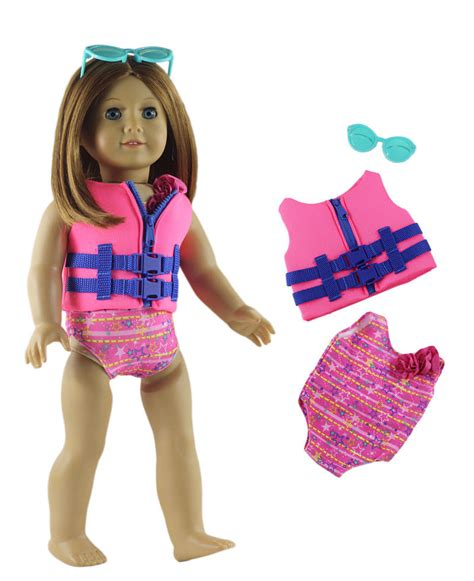 Vest Zara Set 3in1 3in1 doll clothes swimming suit jacket glasses for 18 american doll ebay