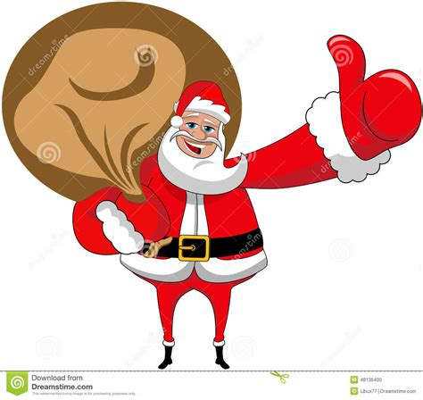 santa claus big sack thumb up xmas isolated stock vector