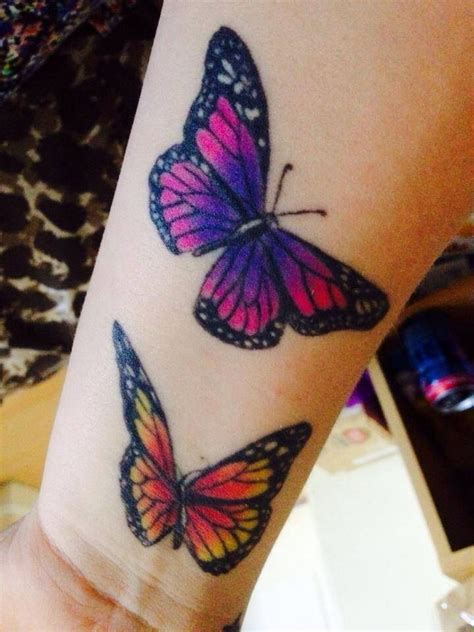 purple tattoo designs butterflies orange and black purple blue and pink
