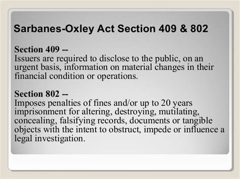 Section 302 Of The Sarbanes Oxley Act by Sarbanes Oxley Presentation