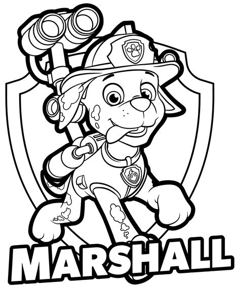 paw patrol marshall coloring pages get coloring pages