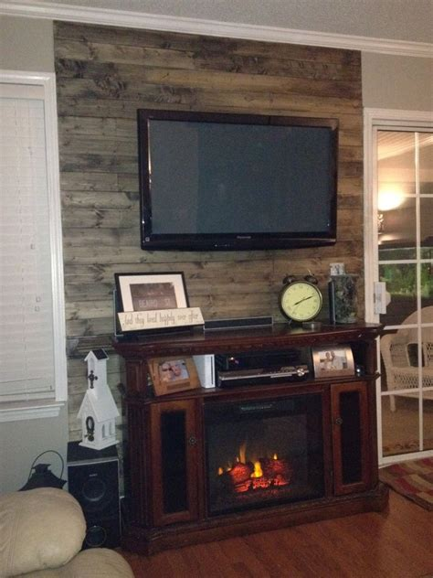 wood accent wall with tv carrie s pinterest