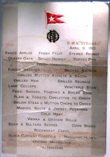 titanic breakfast menu from oysters to gruel the last meals on the titanic