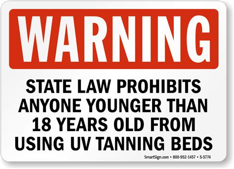 tanning bed laws by state state law prohibits using uv tanning beds under 18 sign