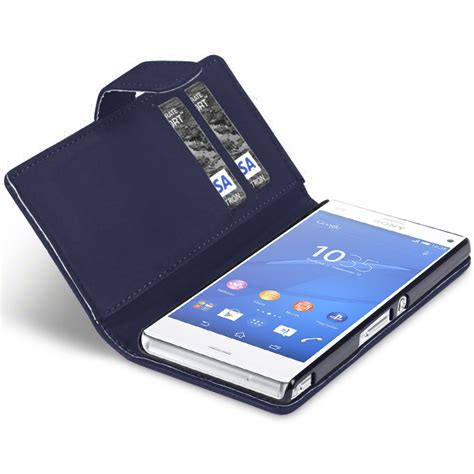design cover sony xperia z3 compact leather wallet case sony xperia z3 compact midnight blue
