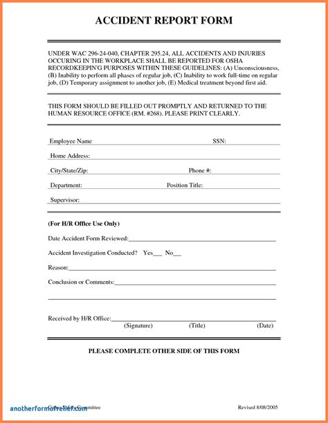 incident hazard report form template new sle incident