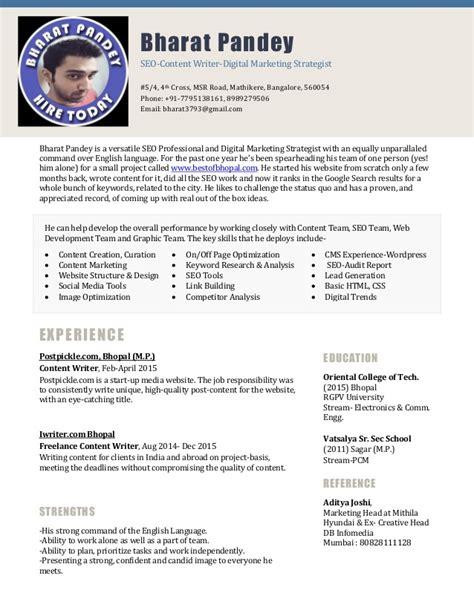 Resume Sles For Seo Executive Resume Bharat Pandey Seo Digital Marketing Executive
