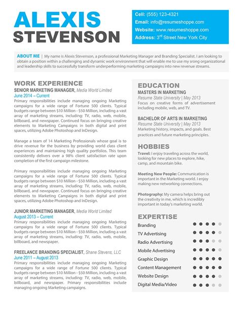 free resume templates word template download