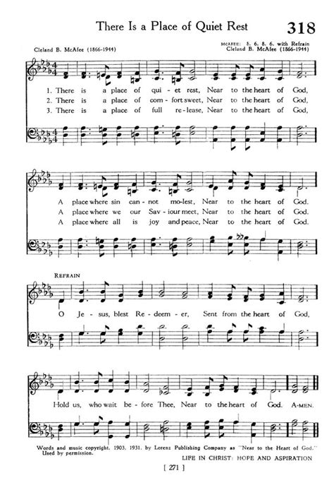 A Place Hymn Sheet The Hymnbook 318 There Is A Place Of Rest Hymnary Org