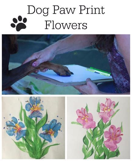 Paw print flowers dog craft DIY instructions keepsake cute