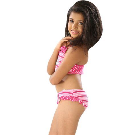 swimwear two piece for kid kids girls multi color cute cartoon print halter two piece
