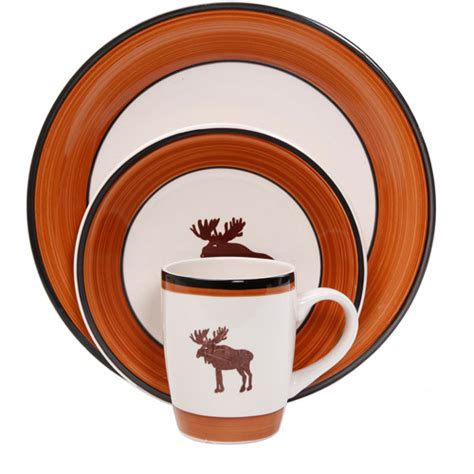 Cabin Dinnerware Sets by Mainstays Moose Cabin 16 Dinnerware Set Multi Color