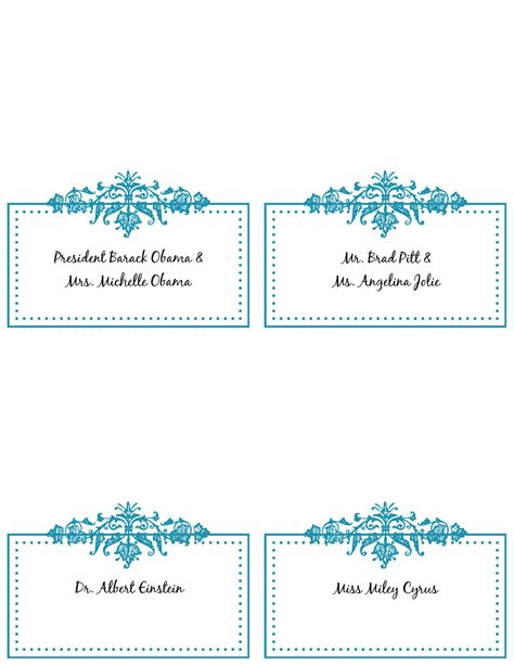 free place card templates 6 per page 5 best