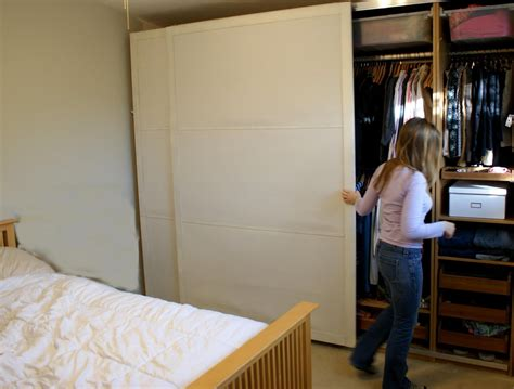 Thin Wardrobe Large Sliding Closet Door In White For Bedroom Decofurnish