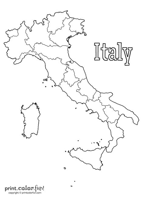 printable maps of italy italian coloring page coloring home
