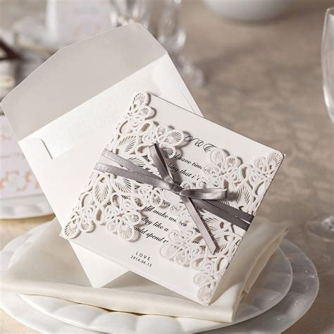 wedding invitations with lace and ribbon ribbon and lace wedding invitations laser cut invites