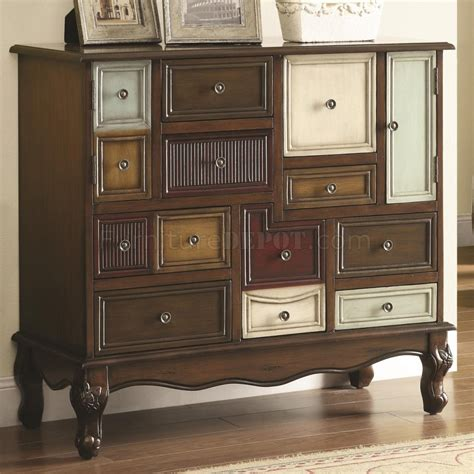 950327 accent cabinet in brown by coaster w mismatched drawers