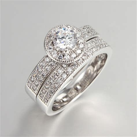 18k white gold filled ring cz jewelry luxury