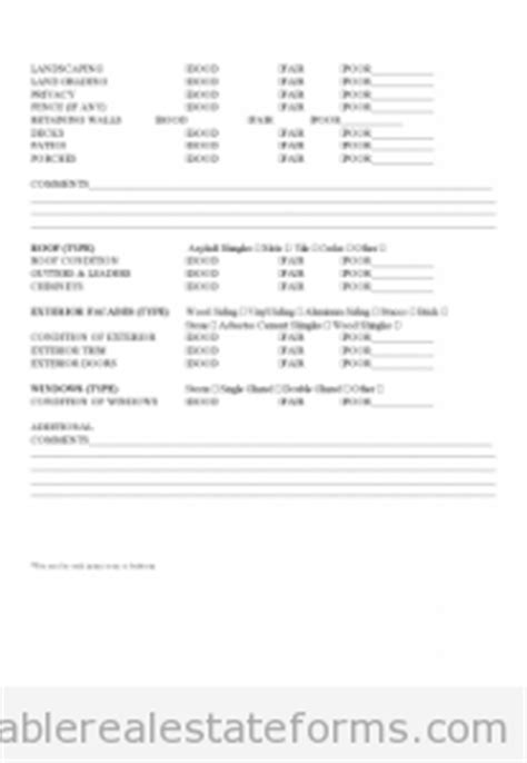 free real estate property inspection checklist form