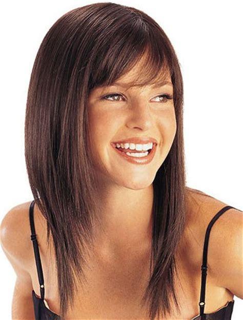 long straight hairstyles layered toward face long straight layered capless human hair wig with bangs 18