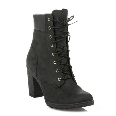 timberland womens lace up black heel glancy 6 quot ankle boots shoes 8432a ebay