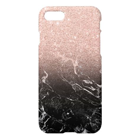 modern rose gold ombre black marble color block iphone