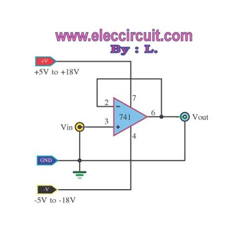 transistor buffer power lifier buffer op unity gain follower using lm741