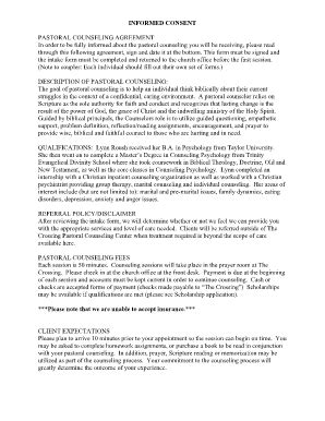 Pastoral Counseling Informed Consent And Confidentiality Agreement Fill Online Printable Counselling Confidentiality Agreement Template