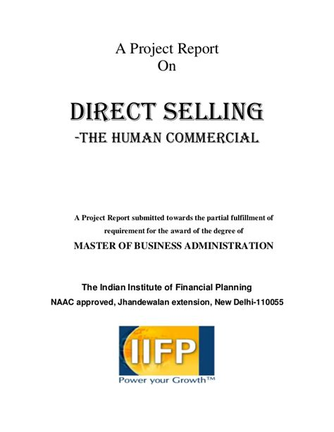 Ecu Mba Apply by Mba Project On Direct Selling Appco
