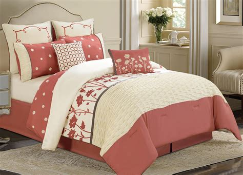 coral queen comforter sets 8 piece queen spring coral ivory comforter set