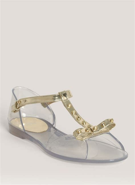 studded jelly sandals stuart weitzman studded jelly sandals in transparent