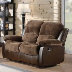 Sectional Sofas With Recliners For Small Spaces - hartdell dual reclining loveseat brown at hayneedle