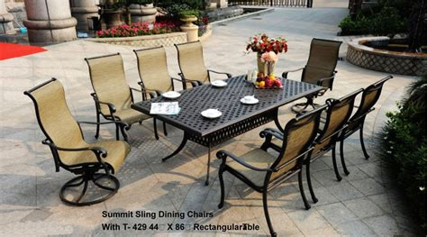 summit outdoor furniture patio furniture dining set cast aluminum sling chairs 9pc summit