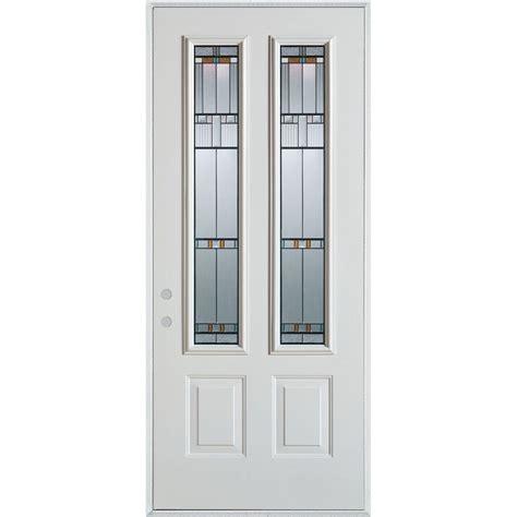 32 X 80 Exterior Door Stanley Doors 32 In X 80 In Bellochio Patina Lite Prefinished White Left Inswing
