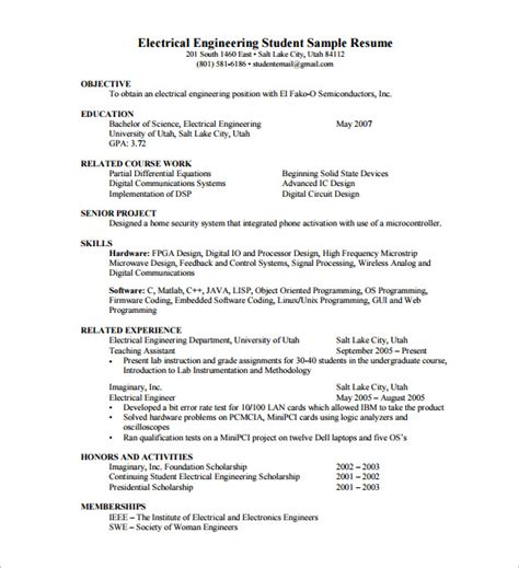 resume format for experienced electrical engineer pdf 14 resume templates for freshers pdf doc free