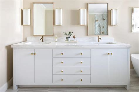 Bathroom Vanity Handles White And Gold Bathroom Sconces Transitional Bathroom