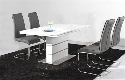 White High Gloss Dining Table And 4 Chairs by Heartlands Dolores High Gloss Dining Set And 4 Chair