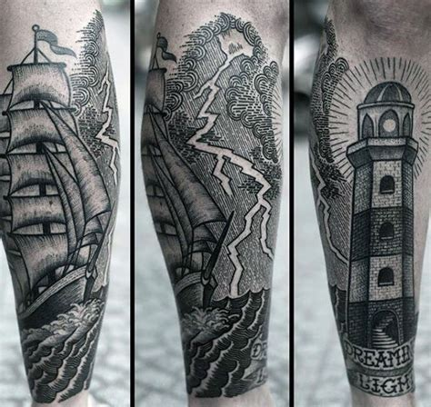 thunderstorm tattoos 60 lightning designs for high voltage ideas