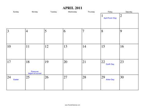 Kalender April 2011 April 2011 Calendar