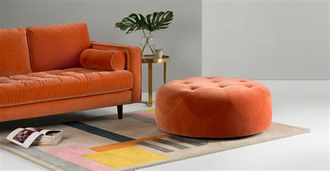 burnt orange chair and ottoman ottoman burnt orange cotton velvet made