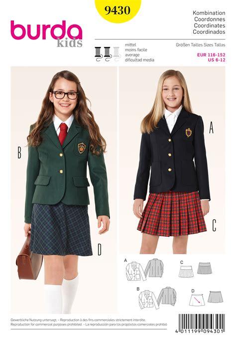 sewing pattern uniform burda 9430 kids