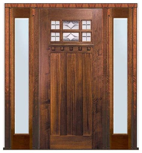 Craftsman Front Door With Sidelights Prehung Sidelights Door 80 Wood Mahogany Craftsman 6 Lite Tdl Glass Craftsman Front Doors