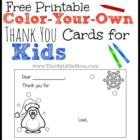 thank you card template for students color your own printable thank you cards for