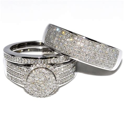 his and rings 0 73ct 10k white gold wide wedding set