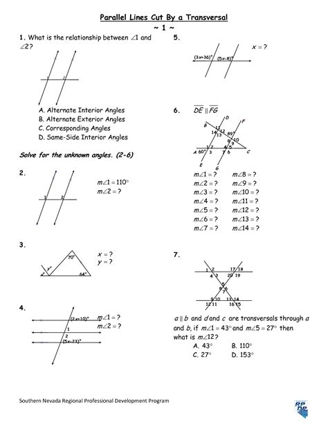 Parallel Lines And Transversals Worksheet by 8 Best Images Of Parallel Lines And Angles Worksheet