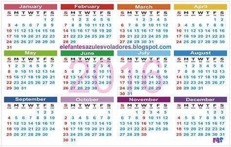 Calendario Html Elefantes Azules Voladores Calendario 2016 Para Imprimir