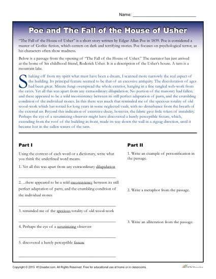a e biography edgar allan poe worksheet the fall of the house of usher worksheet worksheets for